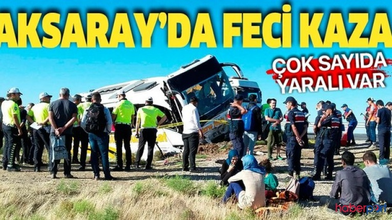 Aksaray-Ankara kara yolunda otobüs kazası! 41 yolcu yaralı