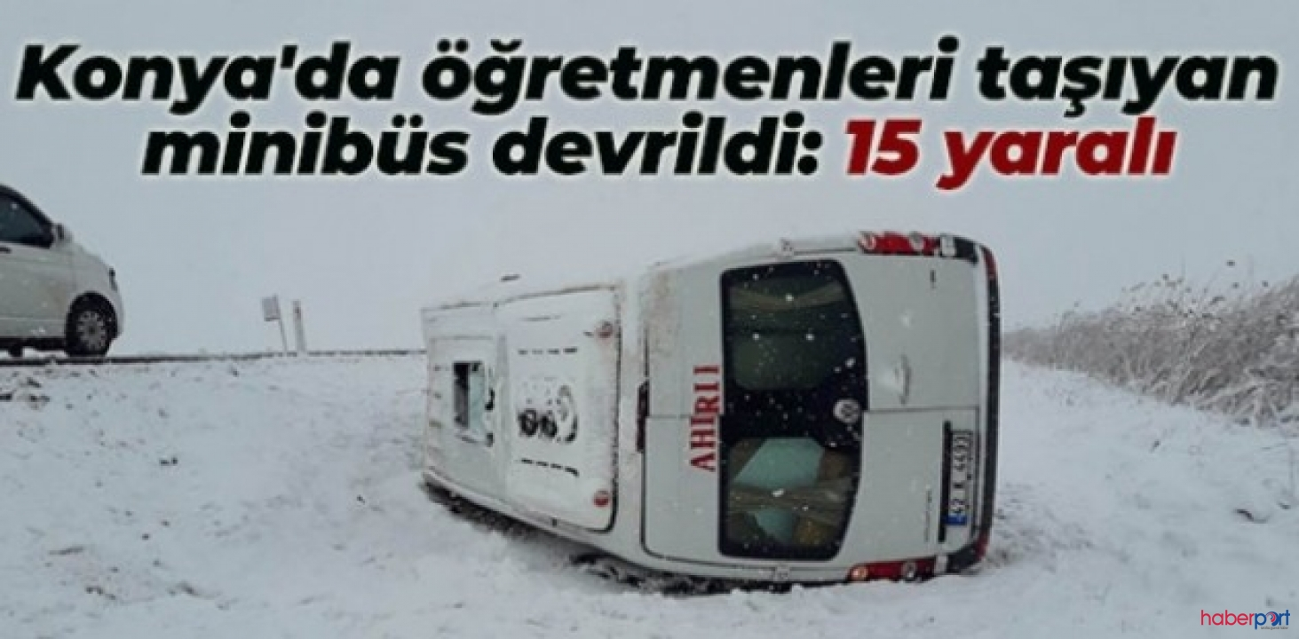 Konya Seydişehir'de öğretmen servisi kaza yaptı! 15 yaralı