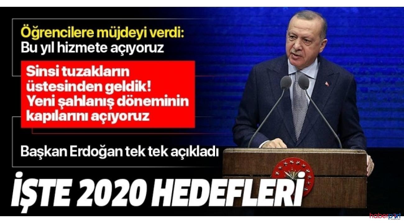 2019 değerlendirmesini yapan Cumhurbaşkanı Erdoğan, 2020 hedeflerini açıkladı
