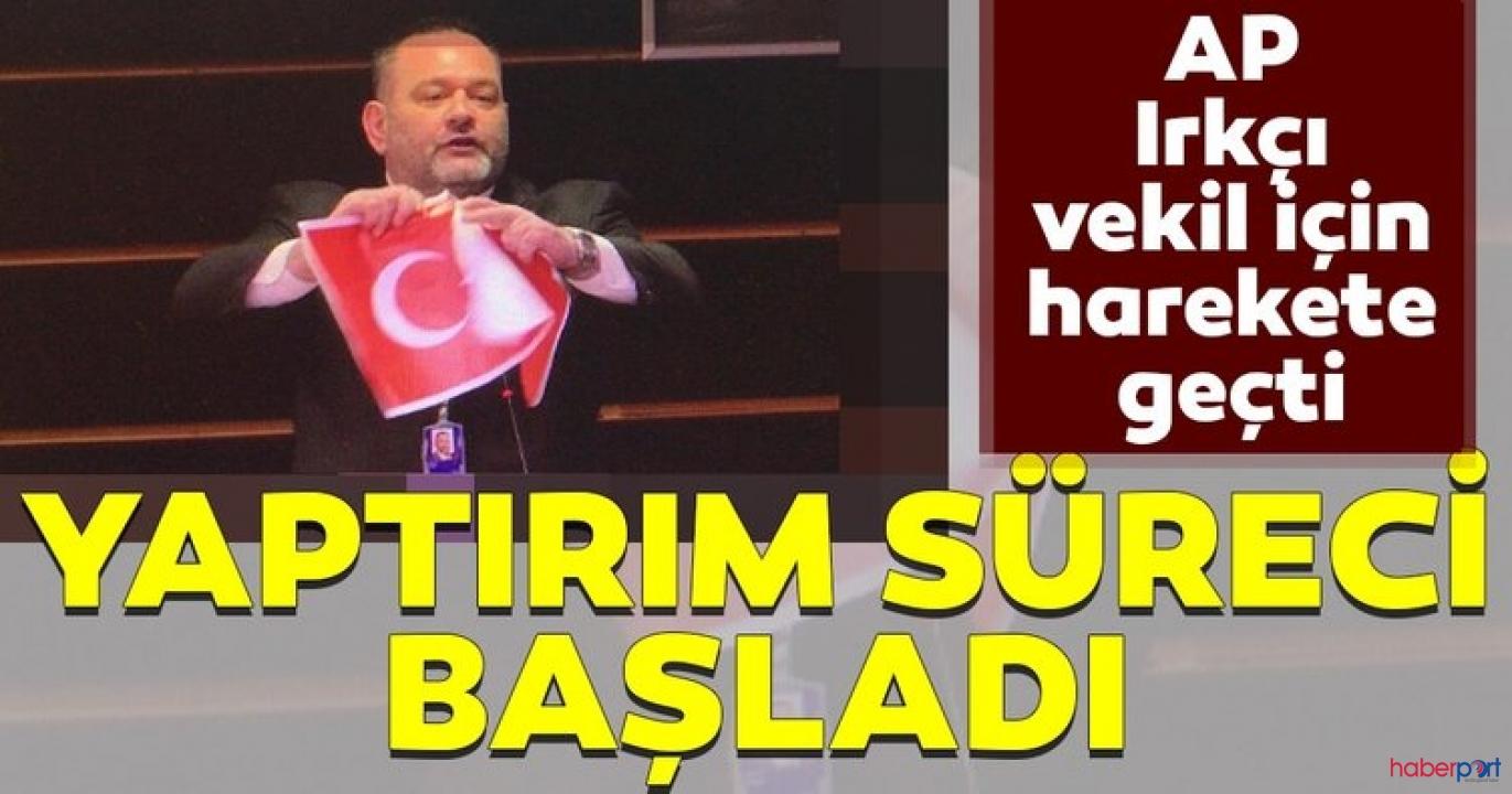 AP Başkanı Sassoli'den Türk Bayrağını yırtan vekile yaptırım uygulaması
