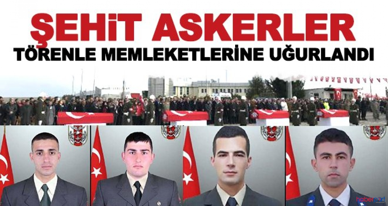 Barış Pınarı Bölgesi'nde şehit olan 4 asker törenlerle memleketlerine uğurlandı