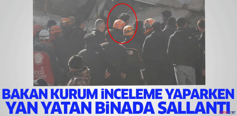 Elazığ'da hasar tespit çalışmaları yapan Bakan Kurum, sarsıntıya yakalandı