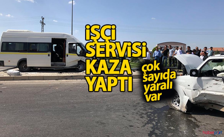 Karaman'da kontrolden çıkan işçi servisi devrildi! 9 yaralı