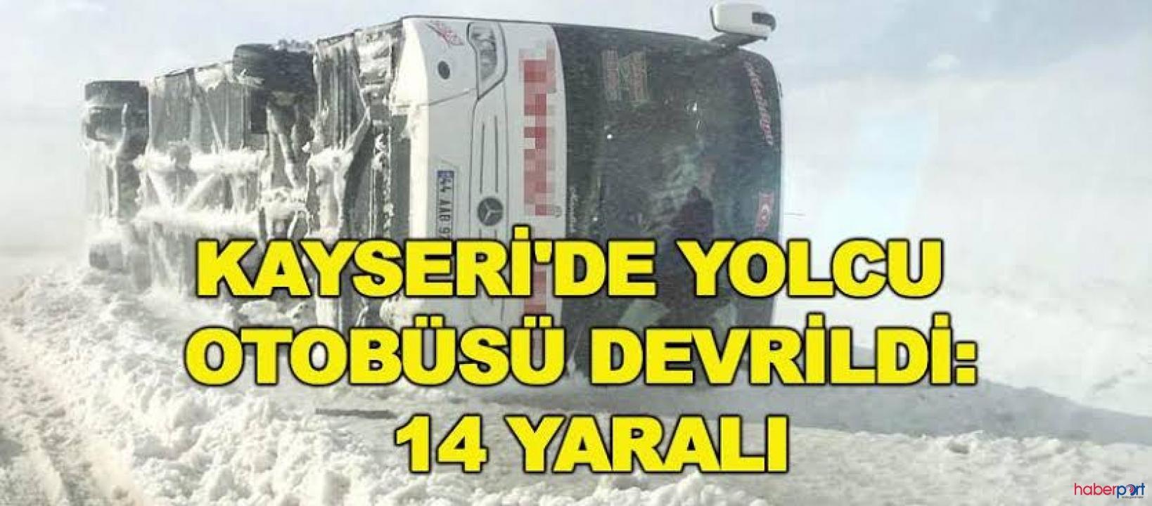 Kayseri'de kar ve buzlanma nedeniyle otobüs devrildi; 14 yaralı
