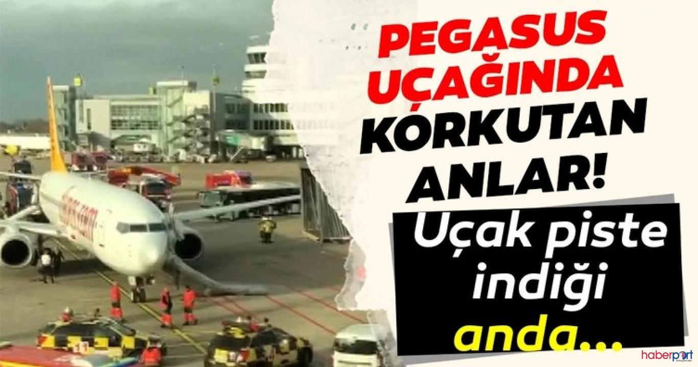 Düsseldorf Havaalanı'na inen Pegasus uçağında yangın paniği