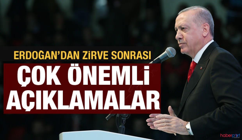 4'lü zirve sonrası Cumhurbaşkanı Erdoğan'dan ilk açıklama