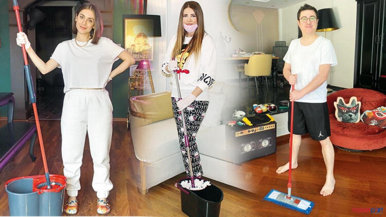 Evden dışarı çıkmayan ünlüler kendilerini temizliğe verdiler