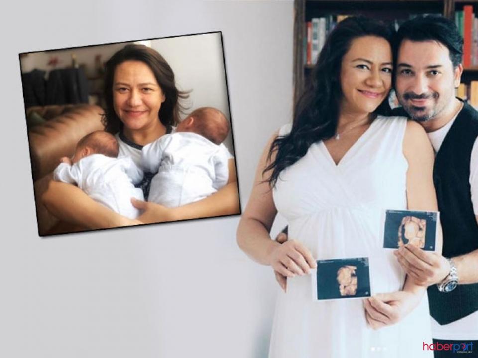 Ezgi Sertel'den ikizleriyle birlikte '40' pozu