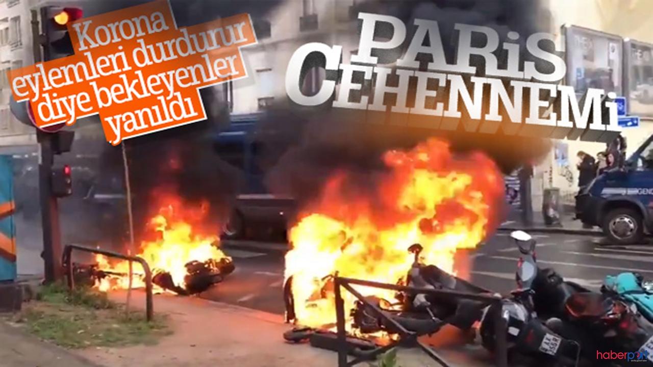Fransa yanıyor! Korona da  sarı yeleklilerin önüne geçemedi! Eylemler devam ediyor