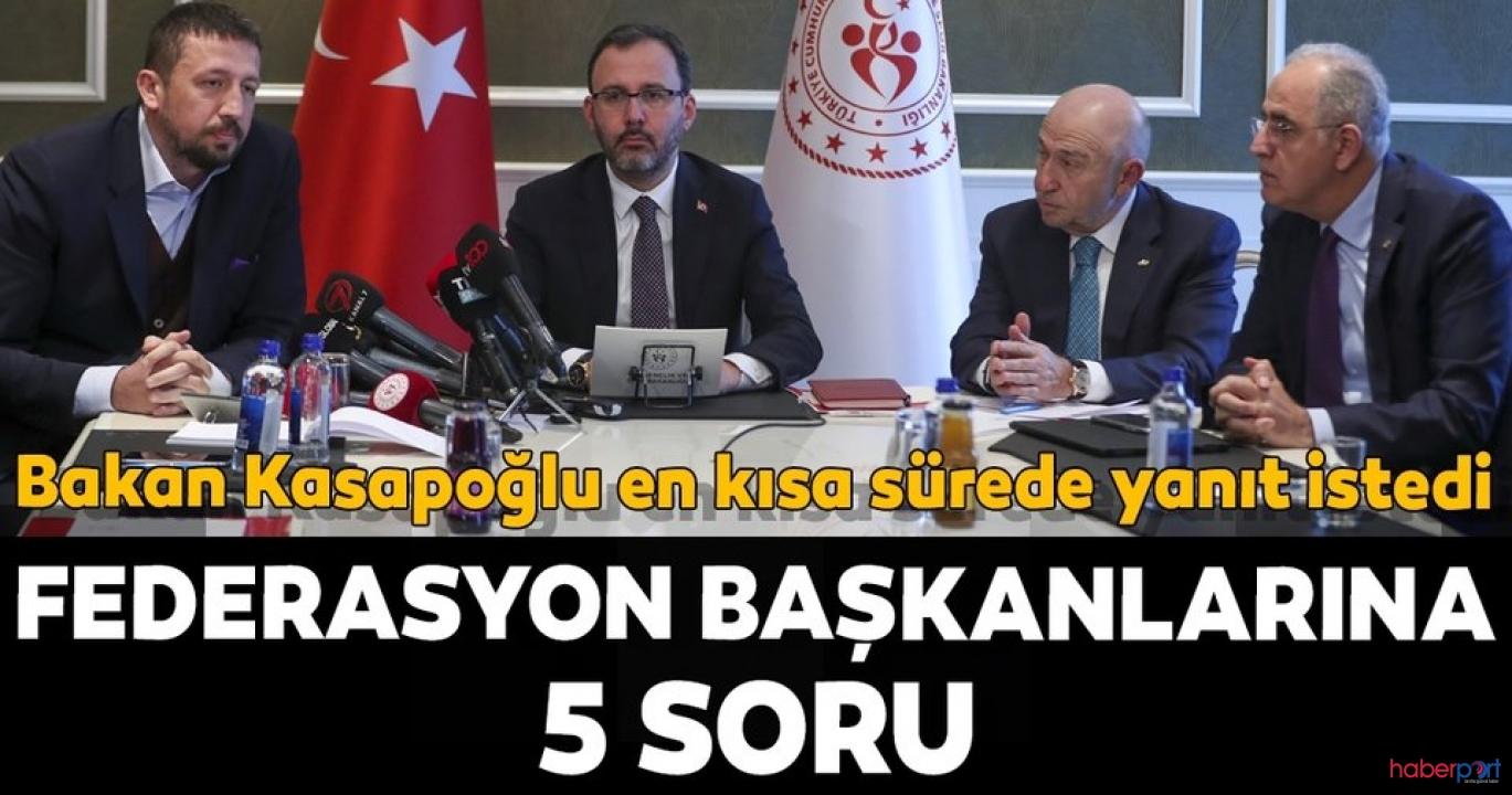 Gençlik ve Spor Bakanı'nın cevap alamadığı 5 soru