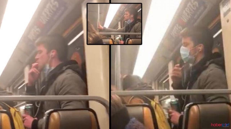 Metroda iğrenç anlar! Tükürüğünü bulaştırdığı elini tutunma borusuna sürdü, gözaltından kaçamadı