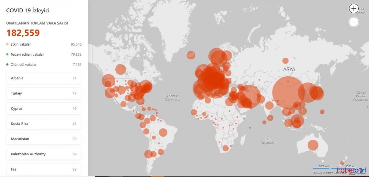 Microsoft  gerçek zamanlı covid-19 (Coronavirus) haritası yayınladı