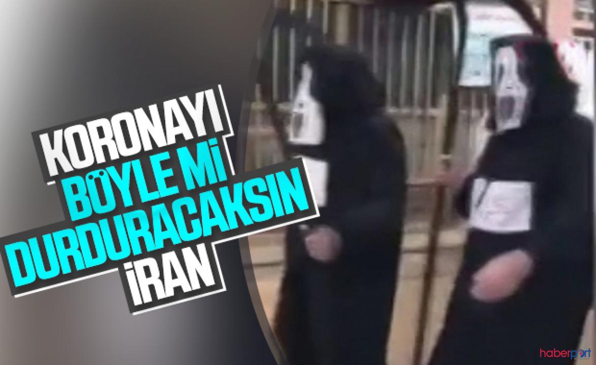 Belediye çalışanlarından ilginç uyarı! Azrail kostümüyle sokaklarda dolaştılar