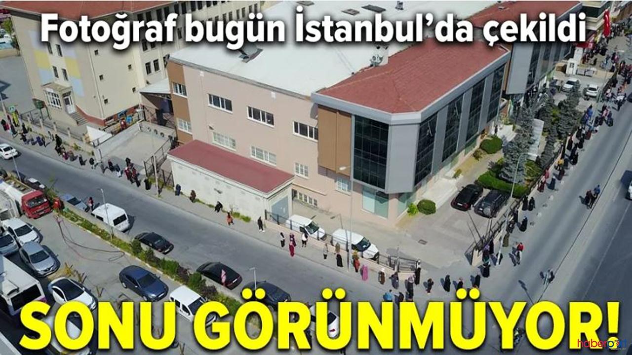 Bu kuyruğun ucu bucağı yok! Fotoğraf İstanbul'dan çekildi