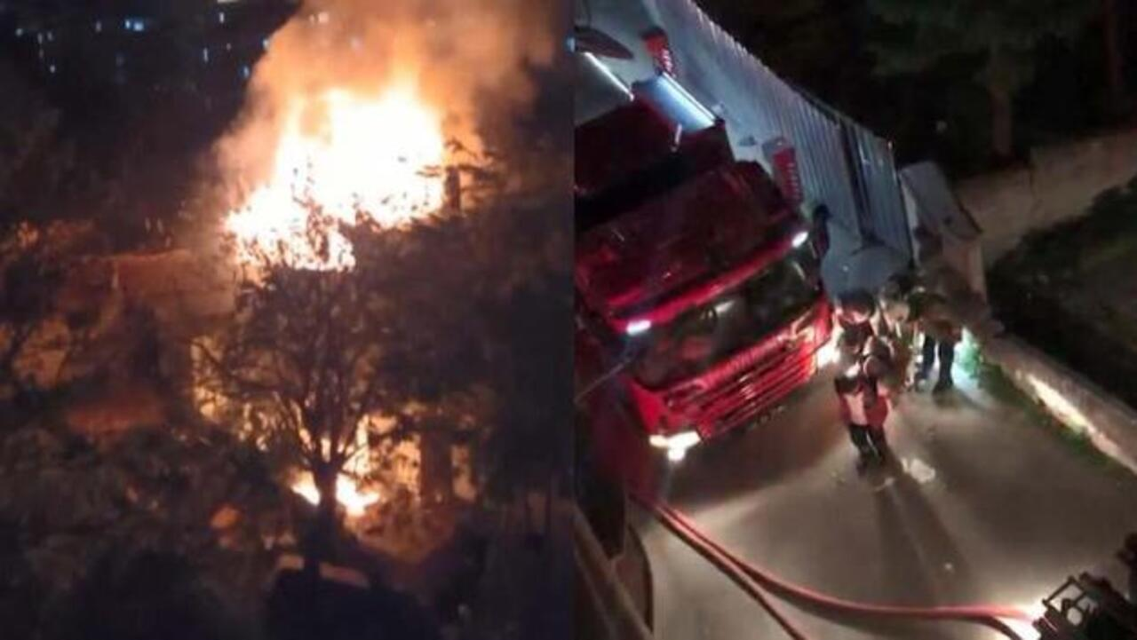 Gaziosmanpaşa'da çıkan bir çatı yangınına müdahale ederken itfaiye eri düştü