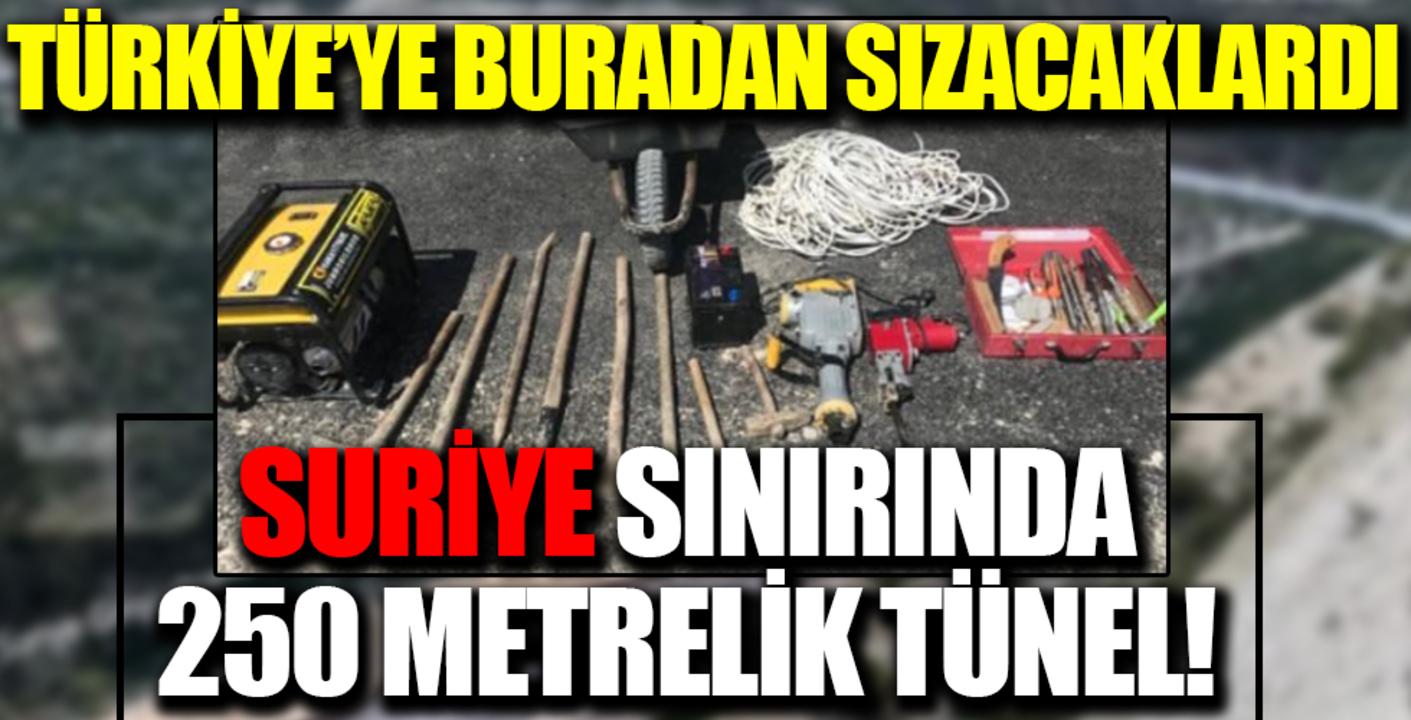 Sınırda 250 metrelik tünel! Suriye'den Türkiye'ye sızacaklardı..