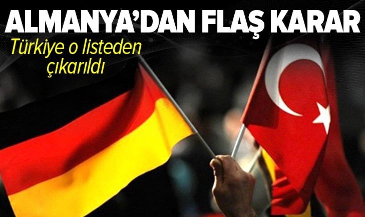 Almanya'dan Türkiye kararı! O listeden çıkarıldı..