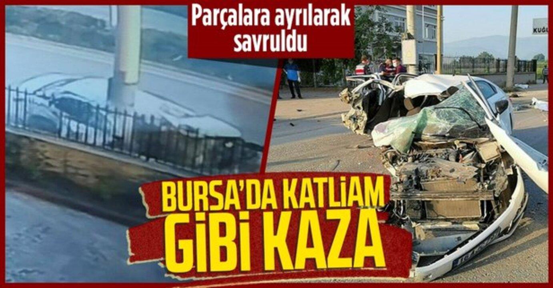 Bursa'da virajı alamayan otomobil, paramparça oldu!