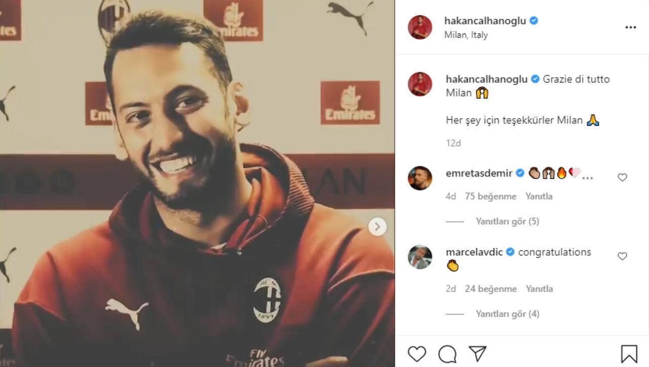 Hakan Çalhanoğlu, Milan'a bakın nasıl veda atti!