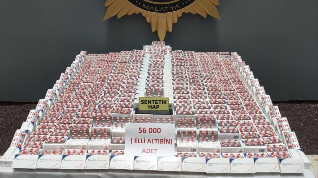 Malatya'da  uyuşturucu operasyonunda 56 bin adet uyuşturucu ele geçirildi: 6 gözaltı!