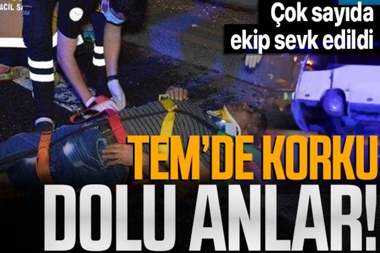 TEM Otoyolu'nu trafiğe kilitleyen kazada 4 işçi yaralandı