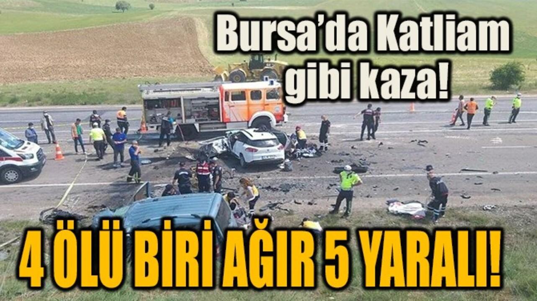 Bursa'da feci kaza! İki araç birbirine girdi..