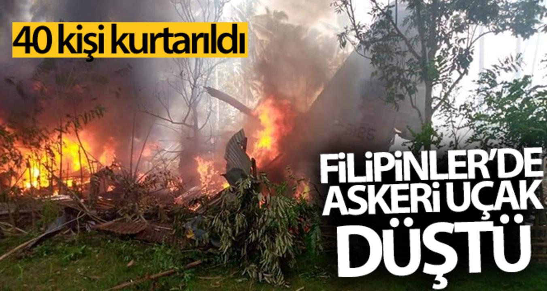 Filipinler'de düşen 85 kişilik askeri uçaktan 40 kişi kurtarıldı!