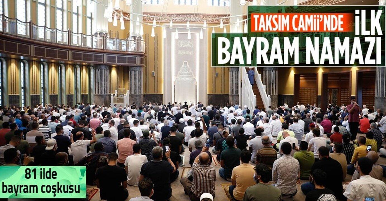 Taksim Camii'nde ilk bayram namazı için seccadesini alan camiye koştu
