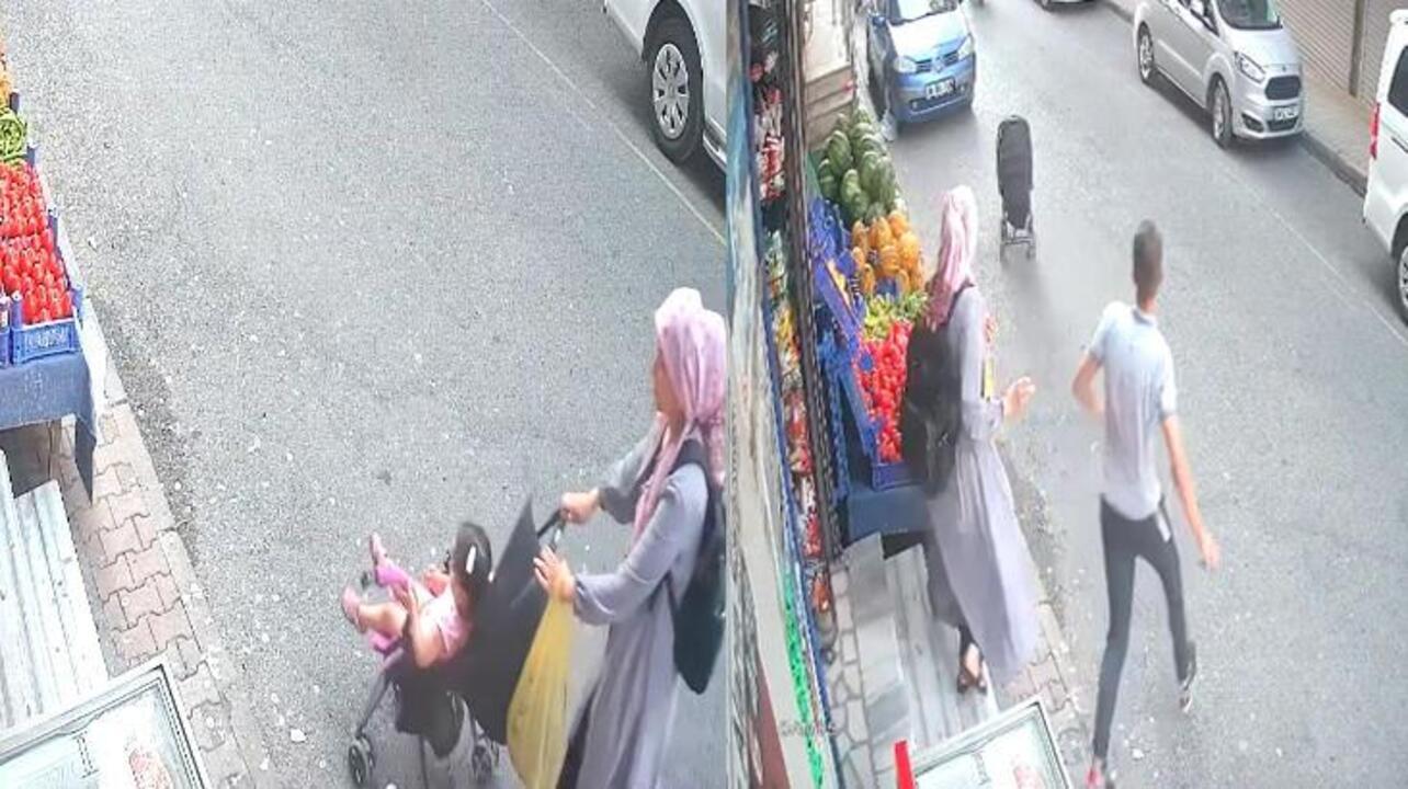 İstanbul'da bebek arabası yokuş aşağı kaydı, son anda kurtarıldı