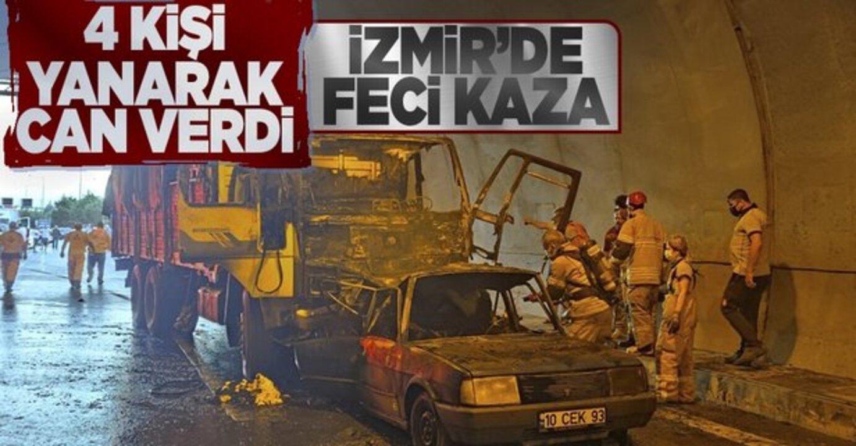 İzmir'de feci ölüm! Kaza yapan araçlarının içinde yanarak can verdiler..