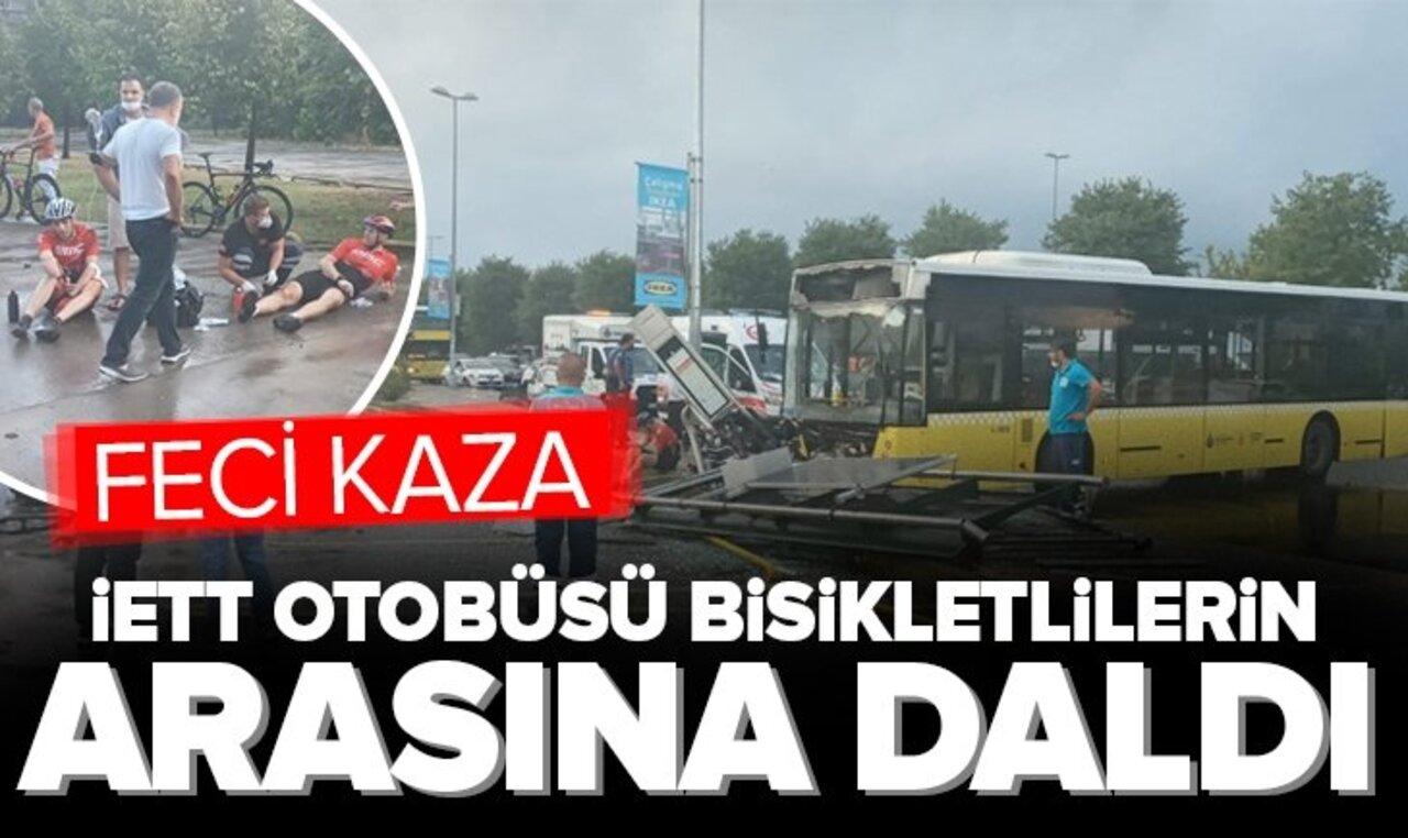 Kontrolden çıkan İETT otobüsü durakta bekleyen bisikletlilere çarptı!