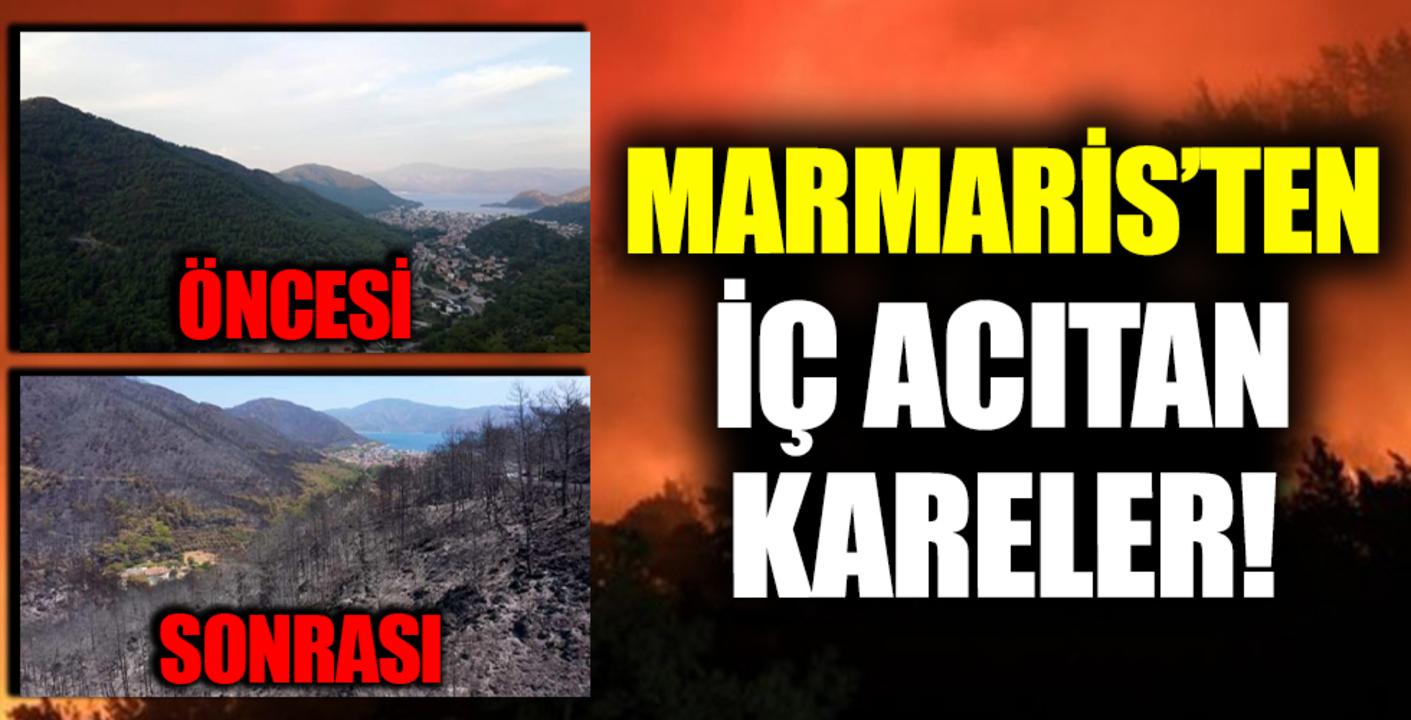Orman yangını sonrası havadan görüntülenen Marmaris'in son hali yürekleri sızlattı!