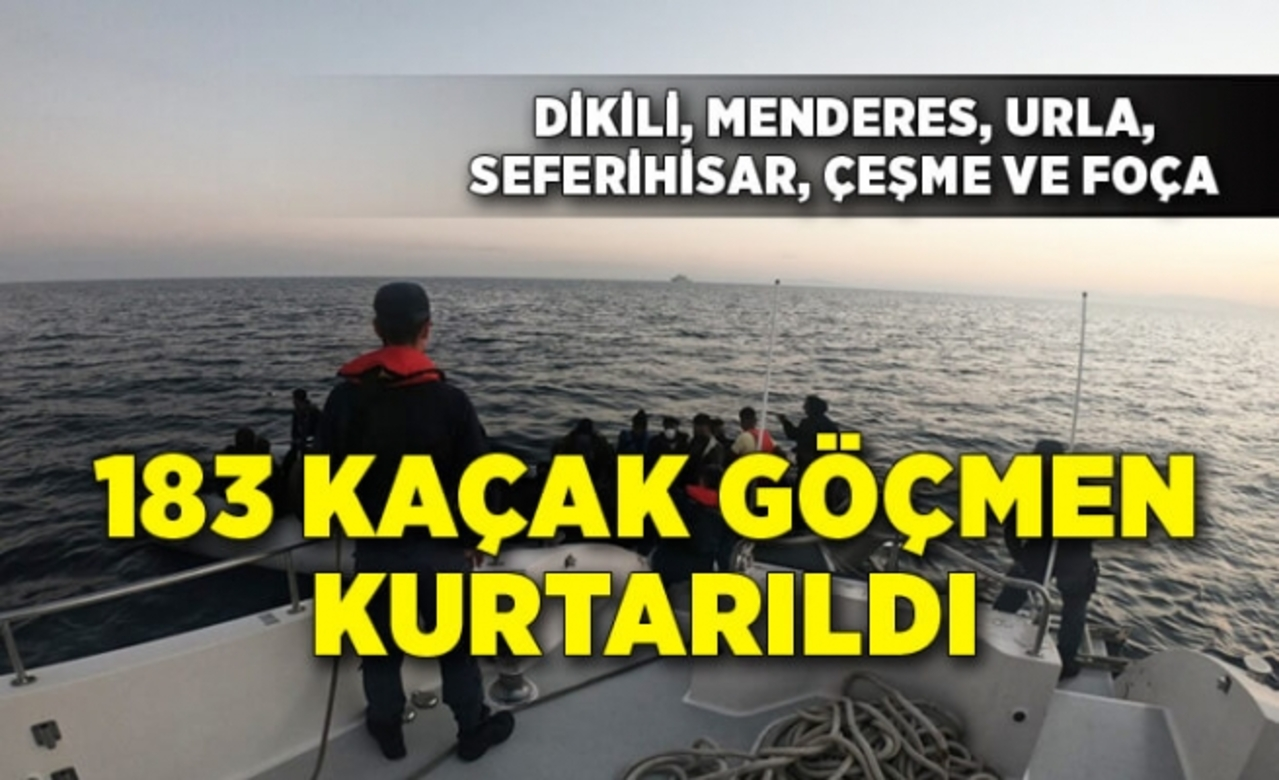 İzmir açıklarında Türk kara sularına itilen 183 kaçak göçmen kurtarıldı