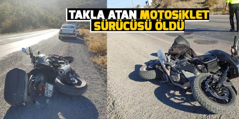 Konya'da motosiklet takla attı: 1 ölü