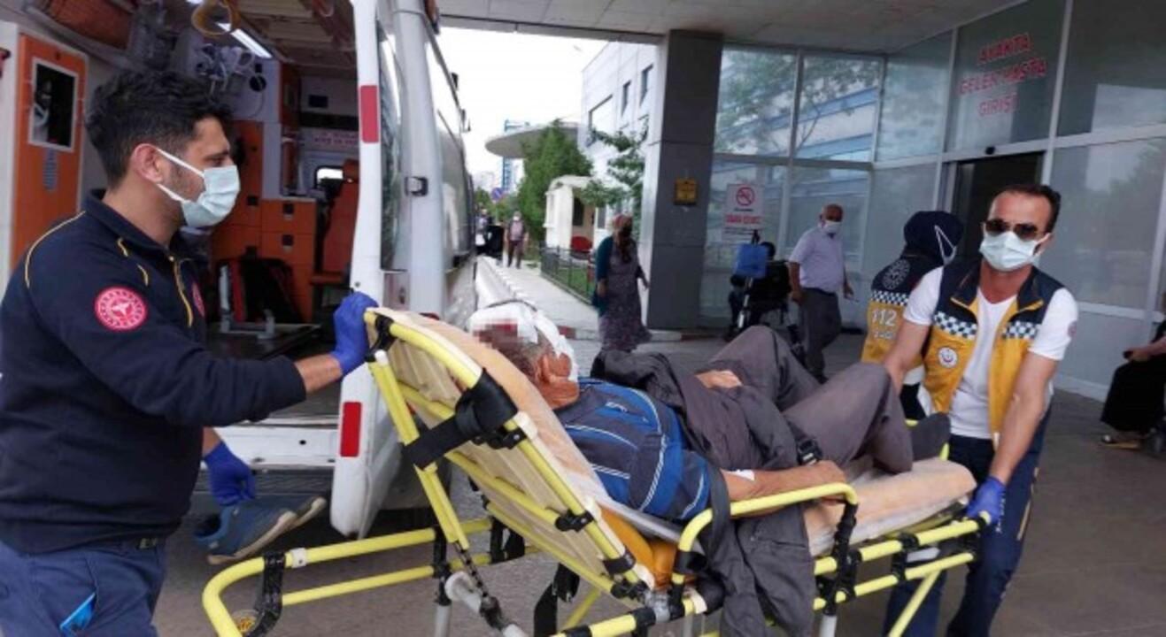 Samsun'da kafasına mısır ayıklama makinesi düşen adam yaralandı