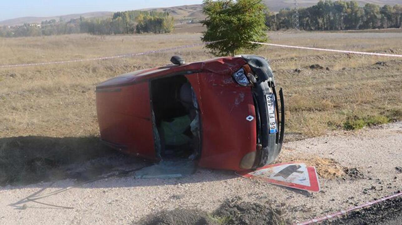 Yozgat'ta takla atan hafif ticari aracın sürücü hayatını kaybetti