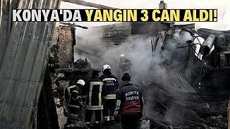 Konya'da tek katlı evde çıkan yangın bir aileyi yok etti