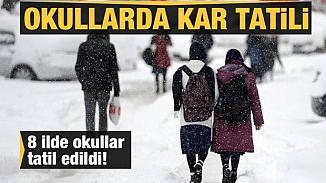 10 Şubat Pazartesi günü 8 ilde okullarda kar tatili