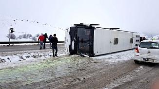 Erzurum maçına giden Bursasporlu taraftarlarının otobüsü kaza yaptı