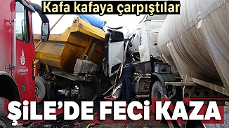 Şile'de seyir halindeki iki kamyon kafa kafaya çarpıştı