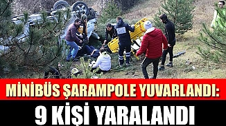 TEM'de şarampole yuvarlanan minibüste 9 kişi yaralandı