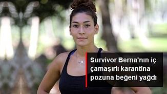 Survivor Berna da geleneğe uydu; İç çamaşırlı evde kal pozu yürek hoplattı!