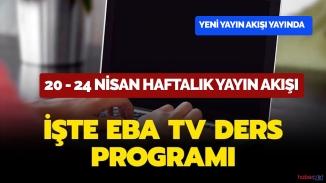 EBA TV haftalık yayın akışı ilkokul,ortaokul lise dersleri ve tekrar saatleri 26 Nisan Pazar