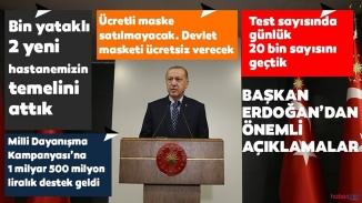 """Erdoğan'dan kritik açıklamalar:""""Parayla maske satışını yasaklıyoruz"""""""