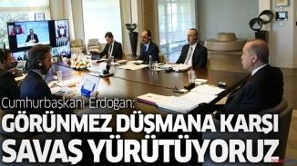 """Erdoğan Türk konseyine seslendi! """"Görünmez düşmana karşı zor savaş yürütüyoruz"""""""