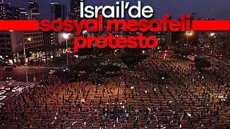 İsrail'de Netanyahu protestosunda sosyal mesafe kuralları çiğnenmedi