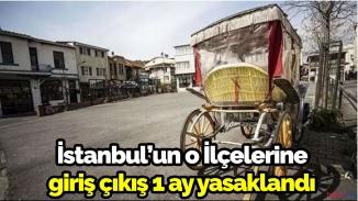 İstanbul'un o ilçelerine 1 ay giriş çıkış yok!