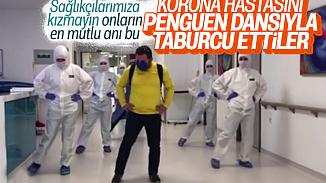 Koronavirüsü yenen hasta penguen dansıyla uğurlandı