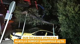 Polisten kaçan alkollü sürücü yoldan çıkarak şarampole uçtu!