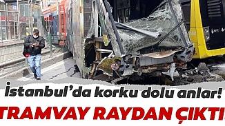 Sultangazi'de raydan çıkan tramvay, İETT otobüsüyle çarpıştı!